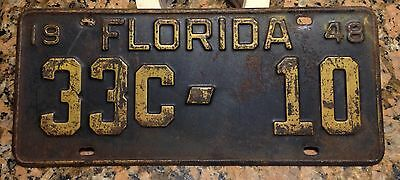 1948 Florida CITY BUS license plate Tag TOUGH COUNTY Low Number 33c-10 '48 FL