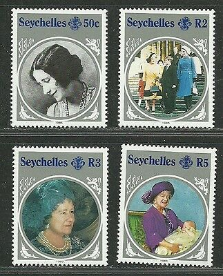 Seychelles 1985 VF MNH Stamps Sc. # 567-70 CV 3.70 $ Queen Mother 85th Birthday