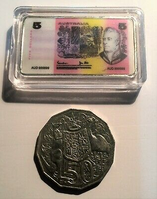 New $5.00 Australian Old Note 1 oz Ingot 999 Silver Plated/Colour Printed