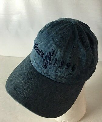 Vintage 1996 Olympics Hat Cap Atlanta Spellout Cotton SnapBack Blue Embroidered