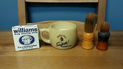 VTG Shaving Mug Collection Seaforth! Williams Soap Rubberset & Made-Rite Brushes