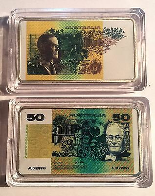 New $50.00 Australian Old Note 1 oz Ingot 999 Silver Plated/Colour Printed