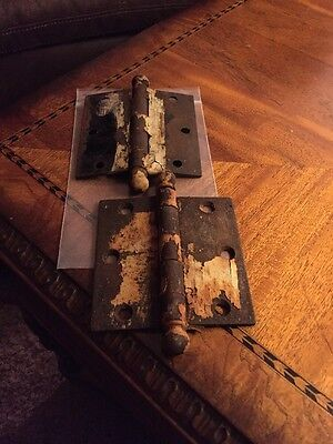(2) Antique Ball Point Door Door Hinges