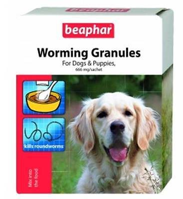 Beaphar Dog Puppies Wormer Granules Easy Worming Treatment Worm 4 Sachet Pack