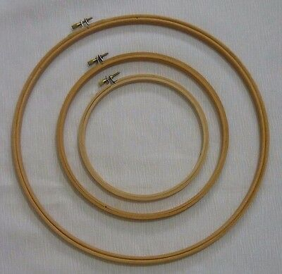 VINTAGE FRAME - LONG STITCH TAPESTRY EMBROIDERY WOODEN RING STYLE x 3 - Set A
