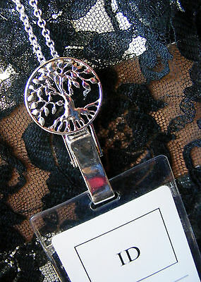 Tree of Life Ancestry Clip ID Badge Name Tag Key Card Necklace Lanyard Silver
