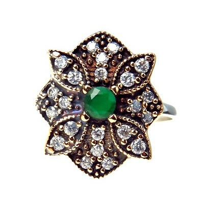 Vintage Sterling Silver Rose Gold Vermeil Art Deco Style Ring Emerald Crystals
