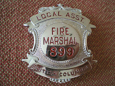 Obsolete Vintage British Columbia Local Assistant Fire Marshal Badge