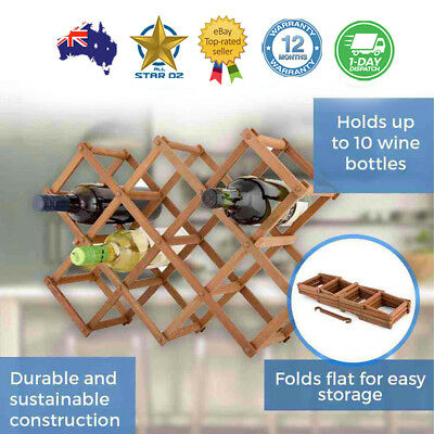 Wooden Wine Rack Holder Colapsible Bar Bottles Storage Portable Table Display