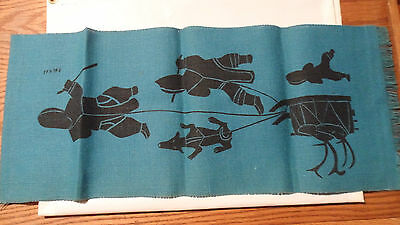 Vintage Kalvak Eskimo Print  , Original Print Done On Blue Burlap 12 X 28 Inches