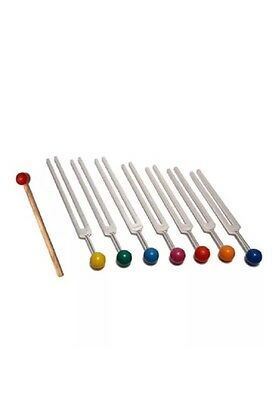 7 Chakra Tuning Fork Set with Color Balls Velvet Pouch Mallet USA Shipping