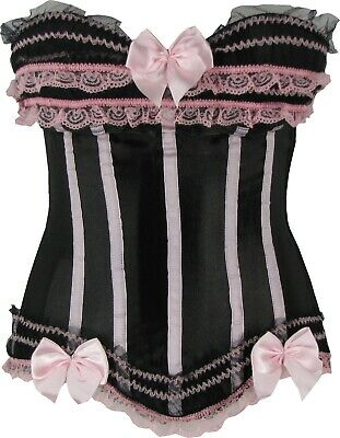 Burlesque Corset Black Satin Finish With Pink Lace Throughout Sizes 6 to 24
