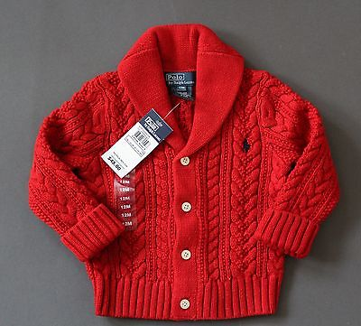 Ralph Lauren Polo Baby Cardigan Sweater Cable Shawl Chunky 3M 12M NEW Genuine
