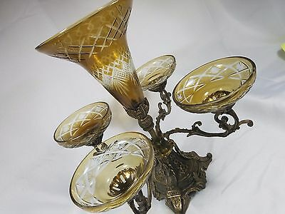 Victorian Epergne Cut Crystal & Brass Vintage Antique Bowl Centerpiece