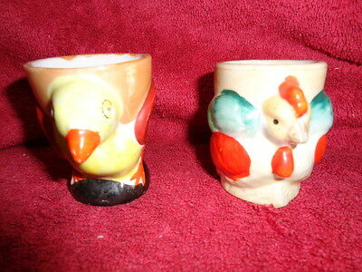 Collectable/vintage/retro Atomic Cosmic Chicken Fowl Egg Cups Two