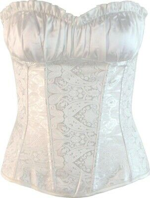Victorian Style Ruffled Bust White Overbust Corset Vintage Inspired Size 6 - 24