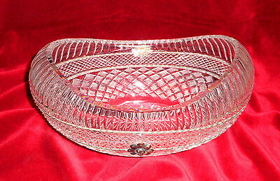 CRYSTAL VASE 1970s Poland LEAD OVAL BOAT. Metal Silver.