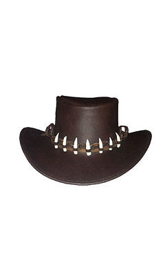 Leather Hat Genuine Crocodile Band 7 Genuine Teeth Dundee Outback Western Small