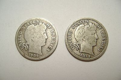 Lot of 2 American Barber Dimes, dated 1904 and 1914, 90% silver