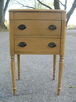 VINTAGE  1940's  SEWING  NOTIONS  BOX - THREAD  CABINET  (2) DRAWERS  SIDE TABLE