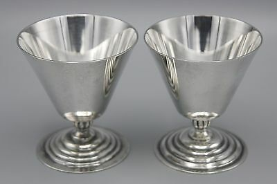 2 Art Deco Victorian Plate Wine Goblets Silver Plated Ribbed Foot
