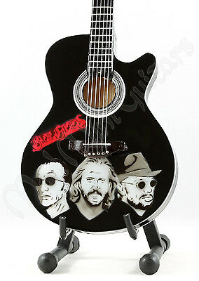 Miniature Guitar BEE GEES with free stand. Barry Robin Maurice Gibb