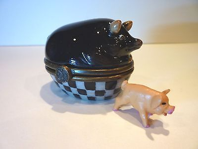 Dept 56 Jam Bon Porcelain Trinket Box: Black Pig - Ham I Am + Free Mini Piglet