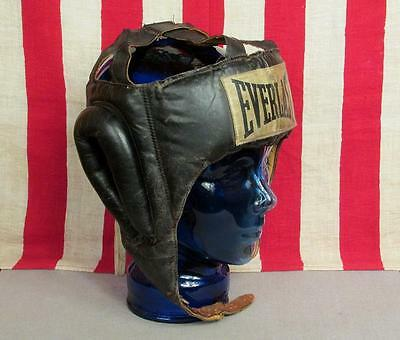 Vintage Everlast Black Leather Boxing HeadGear Padded Sparring Helmet Guard