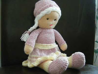 Hand knitted rag doll toy