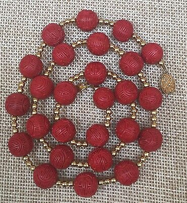 Vintage Chinese Red Cinnabar Longevity Bead Necklace 12.5 MM