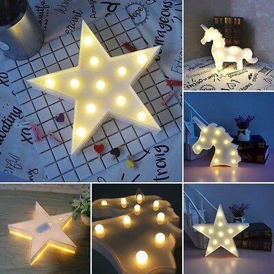 Cute LED Night Light Bedroom Unicorn Animal Star Home Decor Battery Wall Lamp UK