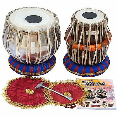 Tabla Drum Set, Steel Bayan, Finest Dayan with Book, Hammer Cushions