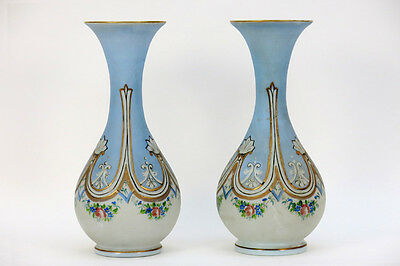 PAIR antique 19thc french opaline glass enamel satyr head vases Rare