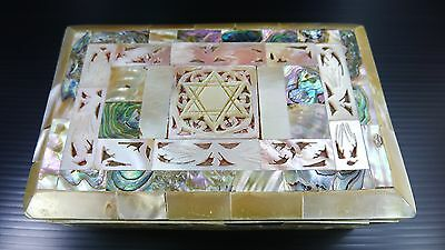 A Vintage Wooden Judaica Box With Decorated/coated With Mother Of Pearl Shells