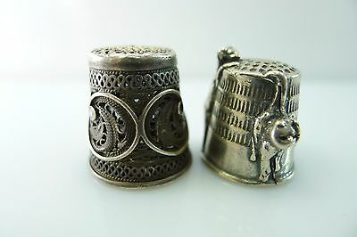 Rare Pair Of Antique/vintage Sterling Silver 925 Thimbles