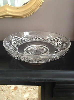 Vintage Stuart Crystal  Carlton Pattern Shallow Bowl Signed