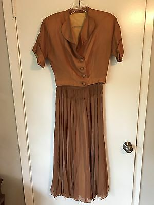 Vintage Handmade Antique 2 piece Dress w Jacket & Belt, Brown/Bronze/Copper Sz S