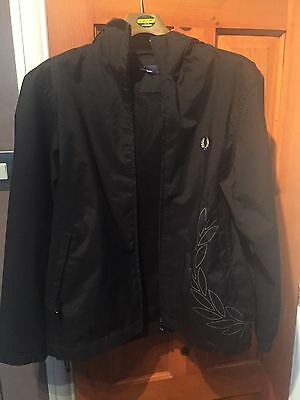 Boys Black Fred Perry Jacket Size Large Youth