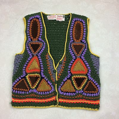 Vintage Artbro 1960's 1970's Crochet Knit Colorful Vest Hippie Boho M MD -B3
