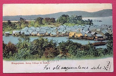 Singapore, Malay Village St. James, Straits Settlements Postage 1907