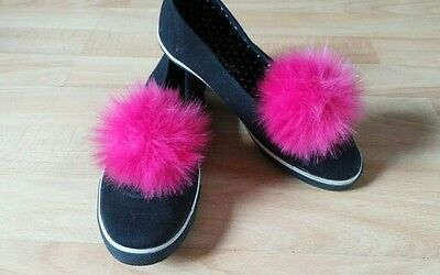Pair of Shoe Clips Hot Pink Faux Fur Pom Pom shoe clips 10 cm 4 inch Handmade UK