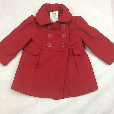 Baby Girl, Dark Red Pea Coat, Old Navy---Size 12-18 Months -B7