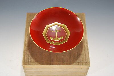 Japanese Navy Military Anchor Memory Lacquer Sake Cup in BOX SET Sea of Japan