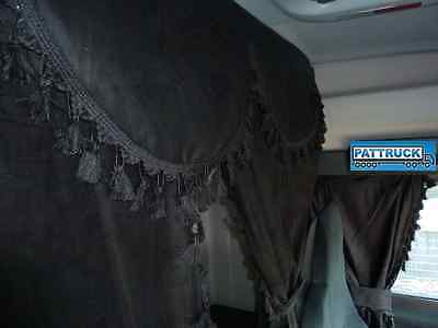 TRUCK CURTAINS SET BLACK WITH BLACK TASSELS Man,Scania,Volvo,Daf,Iveco,Mercedes