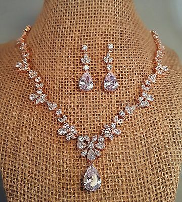Brilliant Rose Gold Bridal Cubic Zirconia Necklace Set