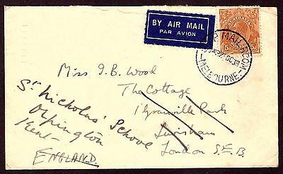 Australia: Airmail cover 1938 to England.