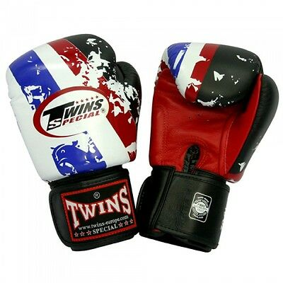 "Twins Special 14oz Boxing Gloves ""Thai Flag"" K1 Muay Thai K1 Kickboxing"