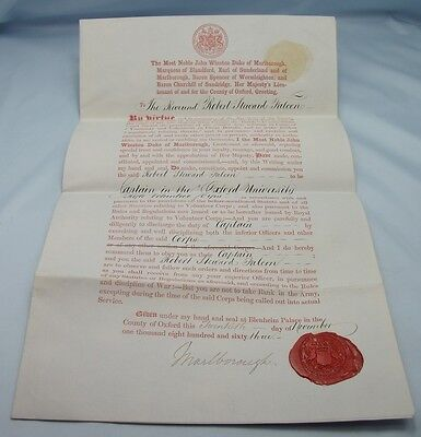 Officer's Commission 1863 Antique Military Oxford Rifle Volunteer Corps Papers
