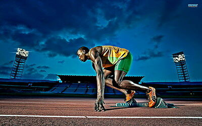 "017 Usain Bolt - 100 m Running Olympic Game Champion 22""x14"" Poster"