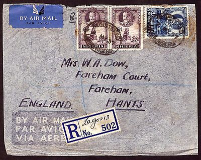 Nigeria: Airmail (Registered) cover 1937 Lagos to England.